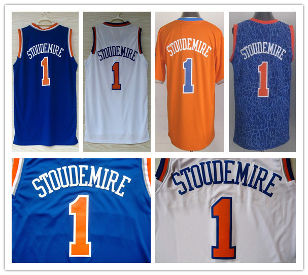 2014 NWT New York #1 Amar'e Stoudemire Jersey White Royal Blue Stitched Best Quality Leopard Stoudemire Basketball Jersey Shop(China (Mainland))