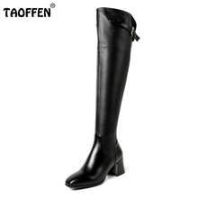 Buy Women Real Genuine Leather Square Low Heel Knee Boots Woman Square Toe Warm Winter Shoes Heeled Footwear Size 34-39 for $57.42 in AliExpress store