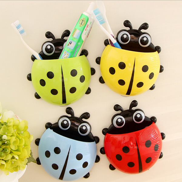 1pc 4Colors New Funny Cartoon Toothbrush Holder Ladybug Sucker Suction Hook Bathroom Accessories Set Free Shipping(China (Mainland))
