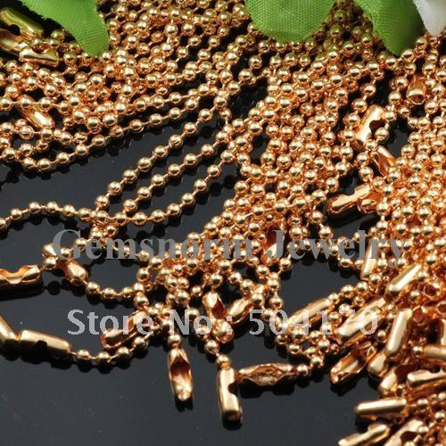 No Fading 100pcs/lot High Quality 2.4mm Width Golden Ball Chain 70cm Length Beaded Chains Free Shipping EMS/DHL 410051<br><br>Aliexpress
