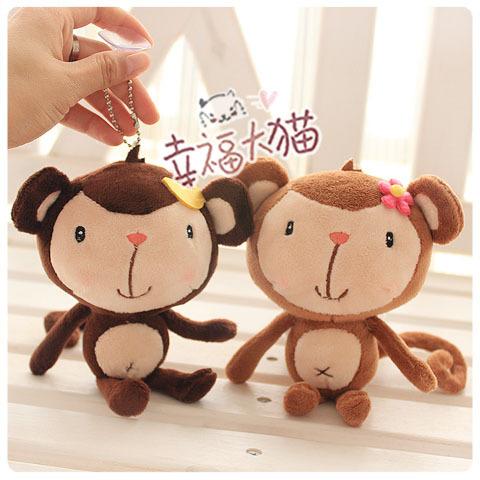 15cm mini 2 pcs Little monkey plush Car act the role suction cup mobile phone pendant furnishing animal doll stuffed toy gift(China (Mainland))