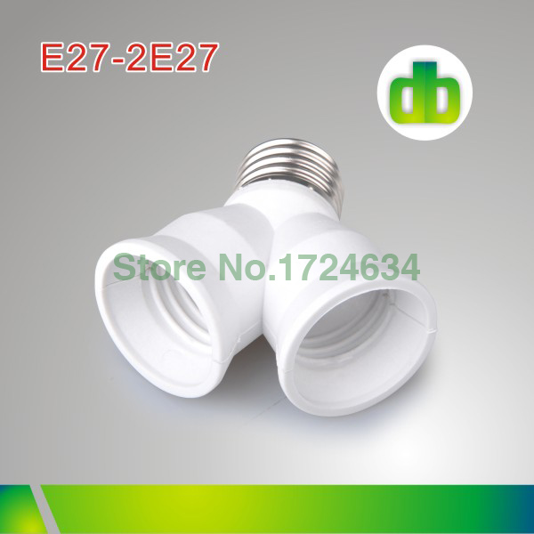 12pcs/Box White PBT E27 to 2E27A or 2E27 to E27 Lamp converter For Led Lamp made in china(China (Mainland))