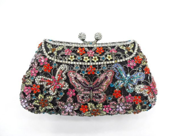 8249A Crystal BUTTERFLY Flower Floral Bridal Party hollow Metal Evening purse clutch bag handbag case