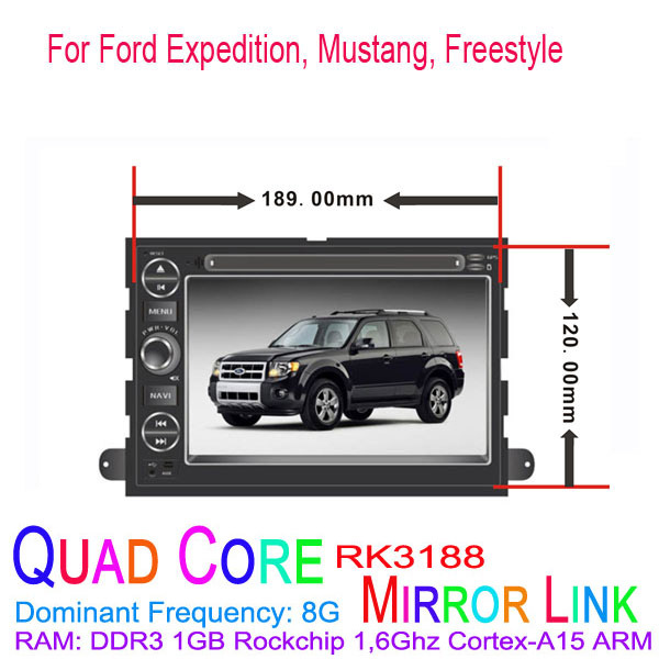 1024*600 Quad Core Android 4.4.4 Fit FORD Expedition, Mustang, Freestyle Car DVD Player GPS TV 3G Radio(China (Mainland))