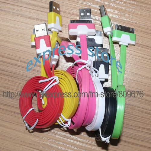 100PCS/Lots 1 meter and 0.6CM width Colorful noodle data and charger cable for ipad ipod iphone high quality free shipping(China (Mainland))