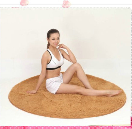 Free shipping Hot sale Circular solid multicolor optional bedroom Yoga silky material carpet floor mats(China (Mainland))