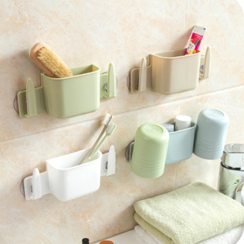 Creative Sucker Wash Rack Toothbrush Holder Suits Can Drain and Multifunctional Storage Shelf for Kitchen Bathroom D99(China (Mainland))