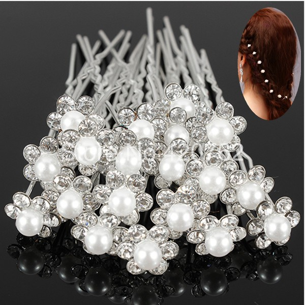 20PCS Wedding Accessories Bridal Pearl Hair Pins Flower Crystal Hair Clips Bridesmaid U Pick Tiara Hair Jewelry Free Shipping(China (Mainland))