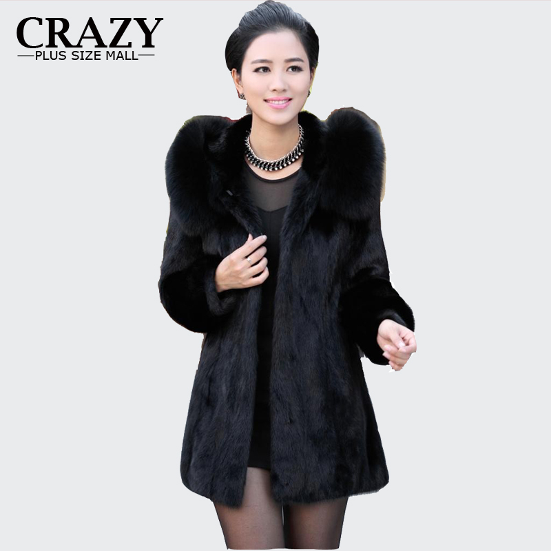 2016 S - 6XL Women Winter Hooded Fake Fur Coats Plus Size 5XL 4XL Vintage Artificial Black Faux Fox Fur Coat With Hood Big Size(China (Mainland))
