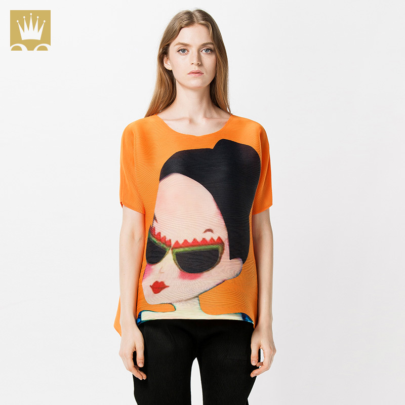 For ISSEY MIYAKE new arrival summer top female print t-shirt female cartoon fashion pressure pleated loose short-sleeve T-shirtОдежда и ак�е��уары<br><br><br>Aliexpress