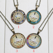 Gravity Falls Mysteries Bill Cipher Wheel Necklace Antique golden glass Pendant necklace gift for children(China (Mainland))