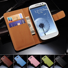 Genuine Leather Wallet With Stand Case for Samsung Galaxy S3 i9300 SIII Flip Style With Card Holder 2 Style(China (Mainland))