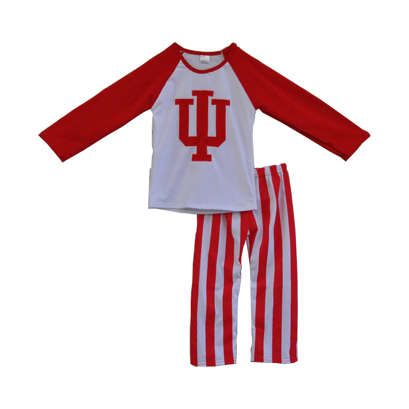 red I U meboridery raglan tops white stripe leggings toddler girls outfits boutique baby clothes children clothing sets F069(China (Mainland))