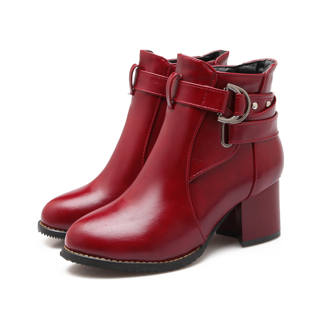 HAIOU Brands Fashion Women Ankle Boots 2016 New PU Leather Buckle Autumn Boots Female Low Heels Pumps Shoes Red Boots Autumn