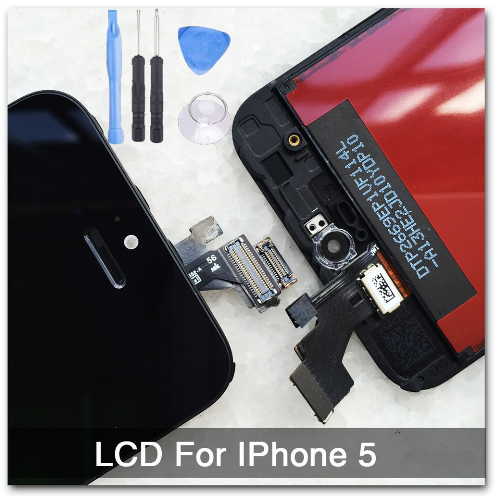 Black 100% Guarantee A+++ Display for Iphone 5 LCD Touch Screen Digitizer Assembly + Tools +With Original Digitizer Glass(China (Mainland))