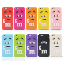 New Arrive M&M's chocolate candy rubber soft silicone cartoon cell phone case cover for iphone4 4S 5 5S 6 4.7inch C001(China (Mainland))