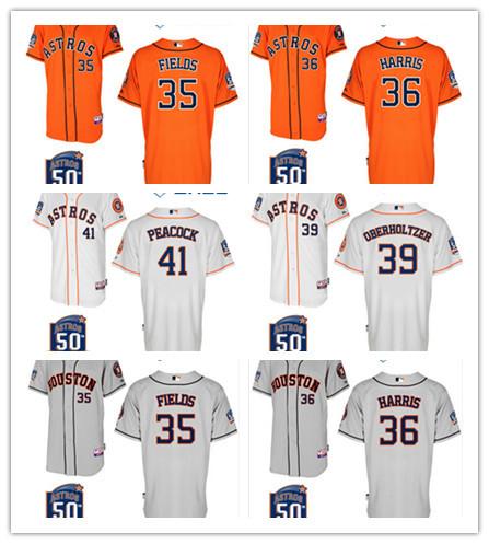 Houston Astros Jersey 41# Brad Peacock, 39# Brett Oberholtzer 35# Josh Fields, 37# Pat Neshek, 36# Will Harris Grey 50th Patch(China (Mainland))