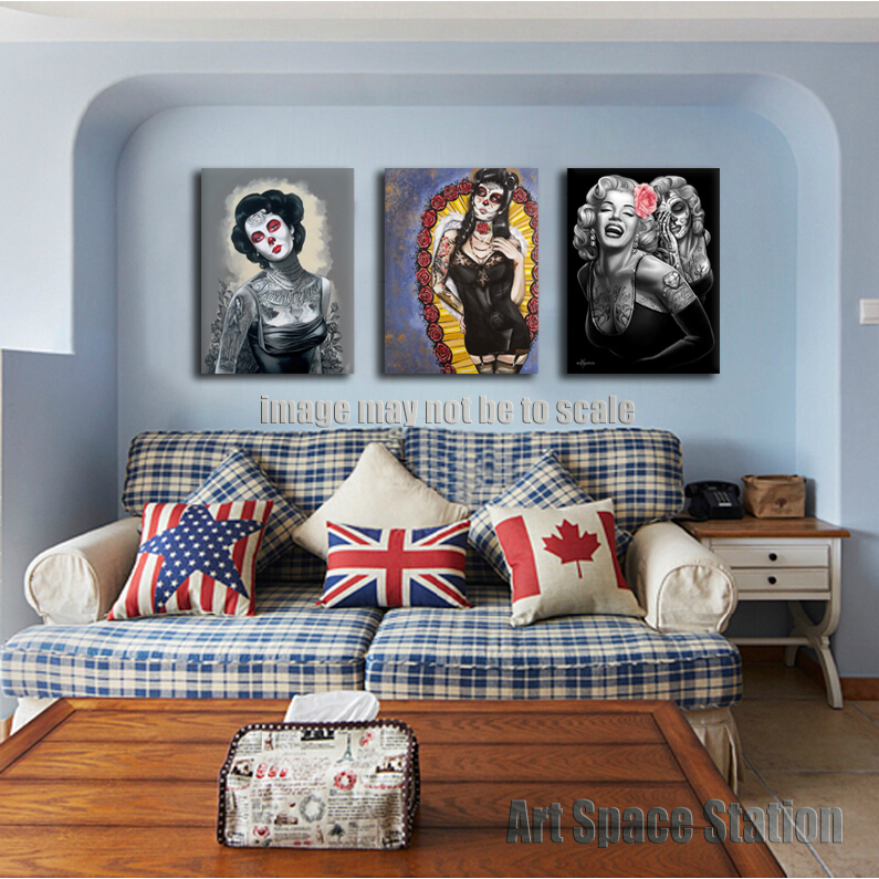 marilyn monroe diamonds are forever tattoo poster print on canvas 3 piece wall pictures for living room decoration no frame