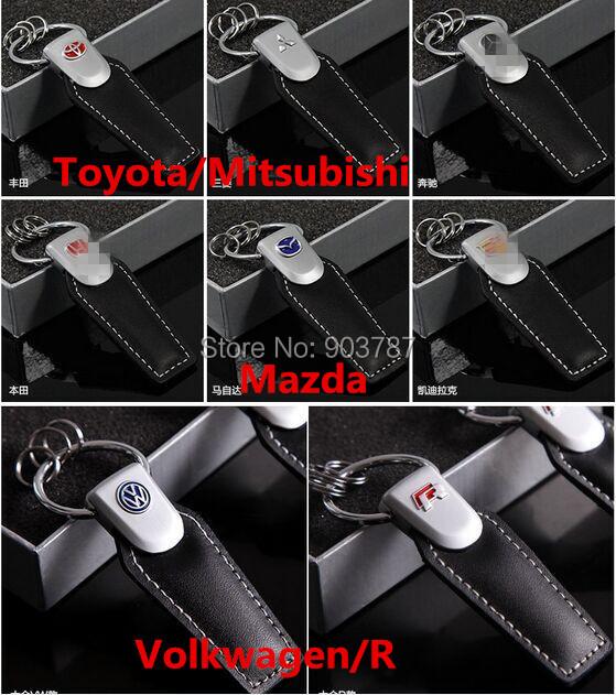 opp bags 17logos R / VW / toyota / Mitsubishi / Mazda 3D leather keychain auto car logo key rings volkswagen retail wholesale <br><br>Aliexpress