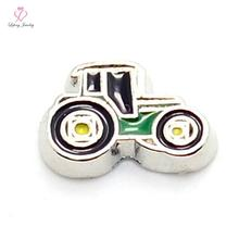 Buy Hot selling zinc alloy cute enamel Black&Green Tractor floating charms living photo memory glass lockets FC98 for $3.24 in AliExpress store