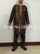 Free DHL african dresses new african fashion bazin riche embroidery men shirt with trouser two pcs one set (China (Mainland))