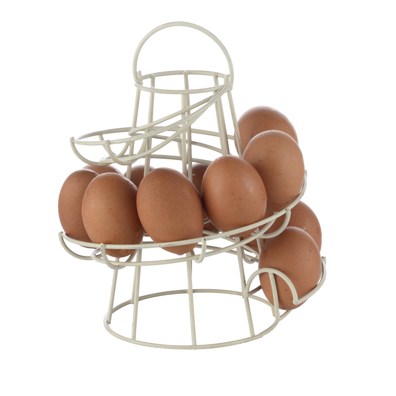 1 Pc Iron Spiral Egg Racks Quality Creative White Black Kitchen Organizer Egg Storage Container ship from US(China (Mainland))