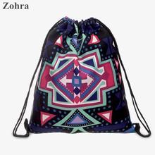 Mysterious Aztec 3D printing Women romantic brand drawstring bag bolsos man sport Gym bags Travel mochila Zohra naughty backpack