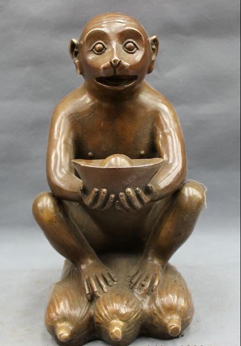 """11"""" Folk Chinese Bronze Copper Year Zodiac Wealth YuanBao Monkey Statue On Corn (China (Mainland))"""