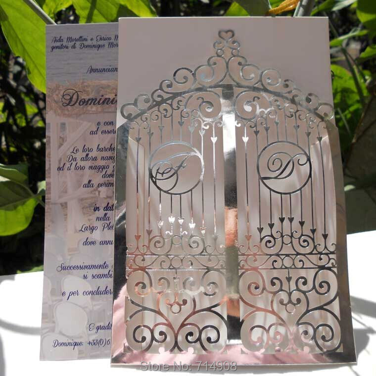Silver Color Rustic art deco gate laser cut wedding invitations top quality cheaper price wedding cards Free Shipping/LIBH206(China (Mainland))