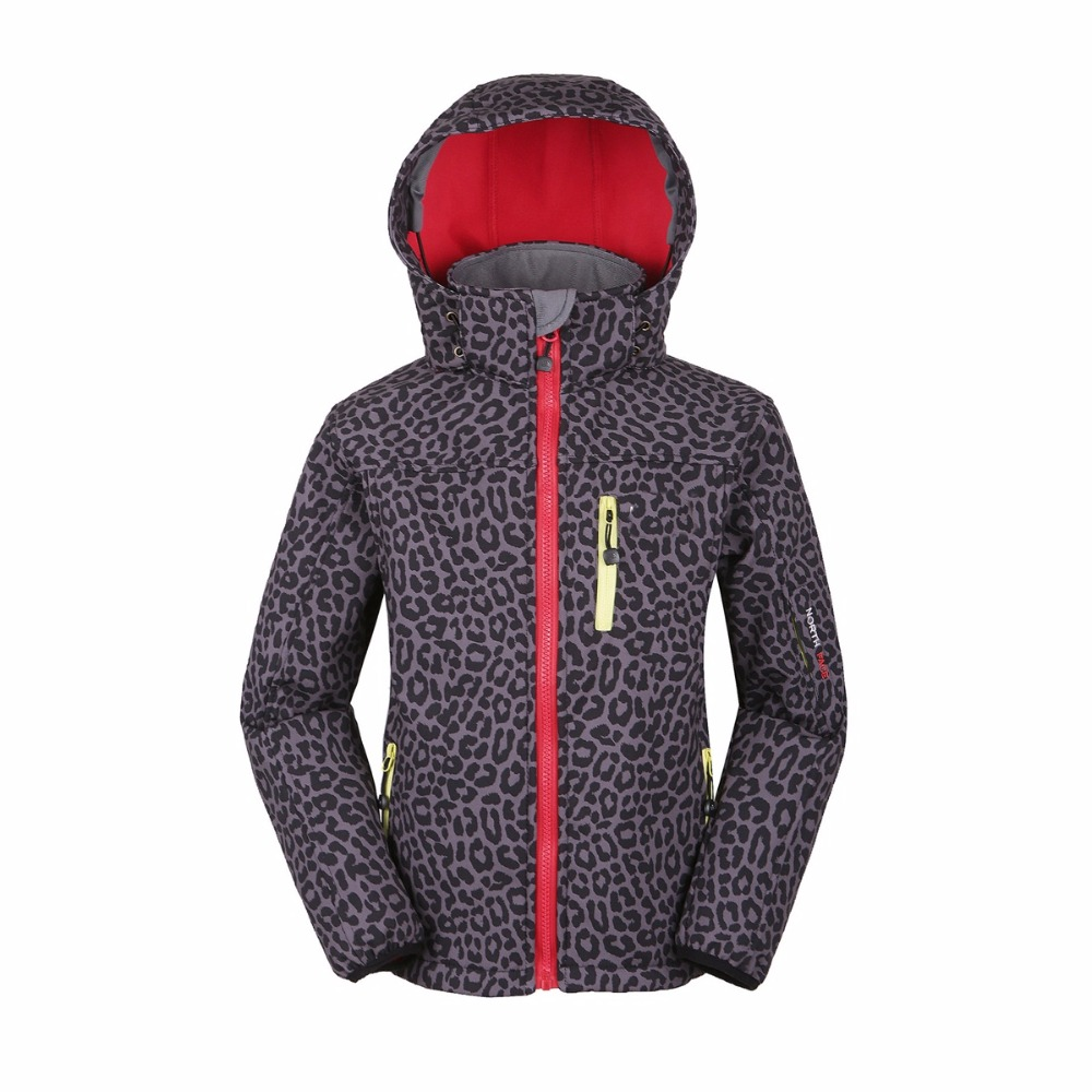 Autumn Winter Leopard Pattern Cold Outdoor Fleece Ski Jackets Breathable Children Warm Clothes Soft Shell Jjacket Free Shipping(China (Mainland))