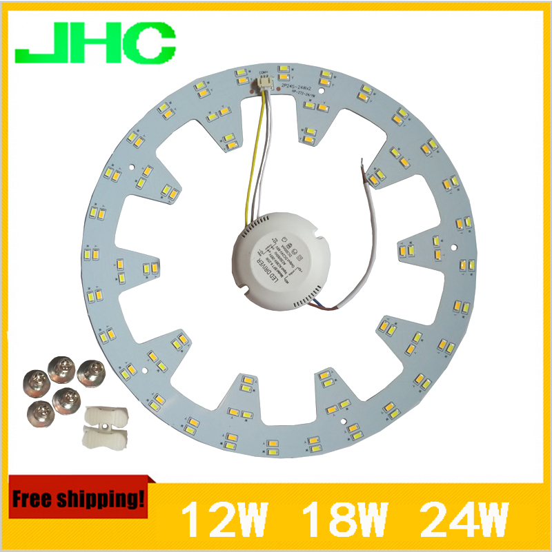 Ring Ceiling Lights Aluminum Plate High Quality SMD5730 LED Ceiling Lamp 2x24w 18W 12W AC90V~260V Warm White+Cool White In 1 PCB(China (Mainland))