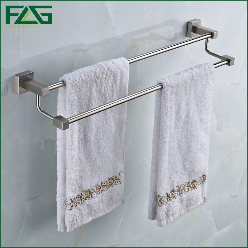 FLG Free Shipping Wall Mounted Bathroom Accessories 304 Stainless Steel Double Towel Bar/Towel Holder Bathroom hardware G207(China (Mainland))