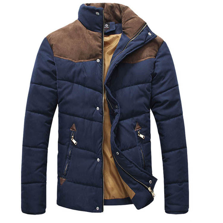 2015 Men's Colorant Match Brief Thermal Wadded Jacket Thickening Cotton-padded Jacket Winter Slim Jacket MF-5457\WCF(China (Mainland))