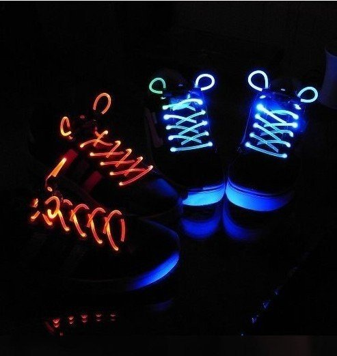 Freeshipping 10pcs(5 pairs)/lot LED LIGHT UP SHOELACES DISCO FLASH LITE GLOW STICK NEON(China (Mainland))