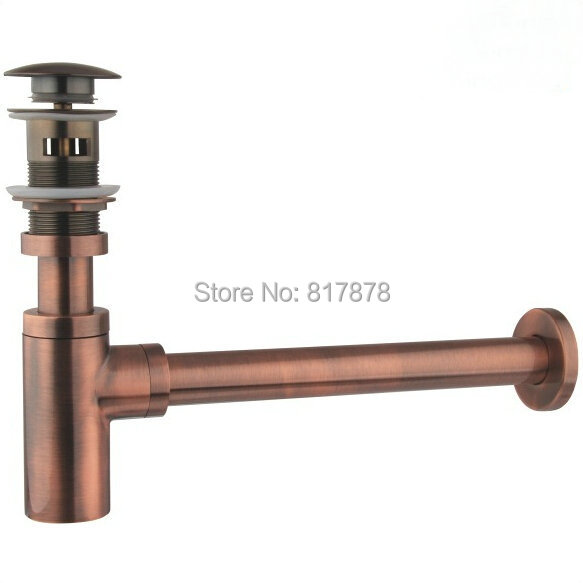 Red bronze P-TRAP + POP UP DRAIN SET BRASS MATERIAL FOR BATHROOM SINK SE596<br><br>Aliexpress