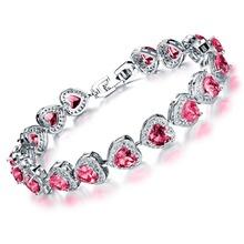 Korean style free shipping  fashion  shining  platinum plated  Heart  Zircon charm Bracelets high quality(China (Mainland))