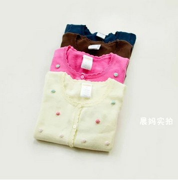 2016 Spring Autumn Foreign Trade Clothing Baby Girls Thin Sweater Female Kids Cotton Cardigan Knitwear Children's Clothes N407(China (Mainland))