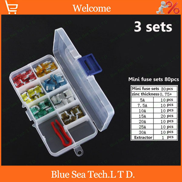 3 sets 4S stores 5A-30A Mini type Auto fuse Kit with transparent box,car fuses sets for Honda Toyota Mazda VW etc.<br><br>Aliexpress