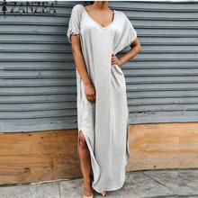 Buy ZANZEA Vestidos 2017 Summer Women Split Maxi Dress Lady Sexy Casual V neck Short Sleeve T-shirt Long Beach Dresses Plus Size for $11.71 in AliExpress store