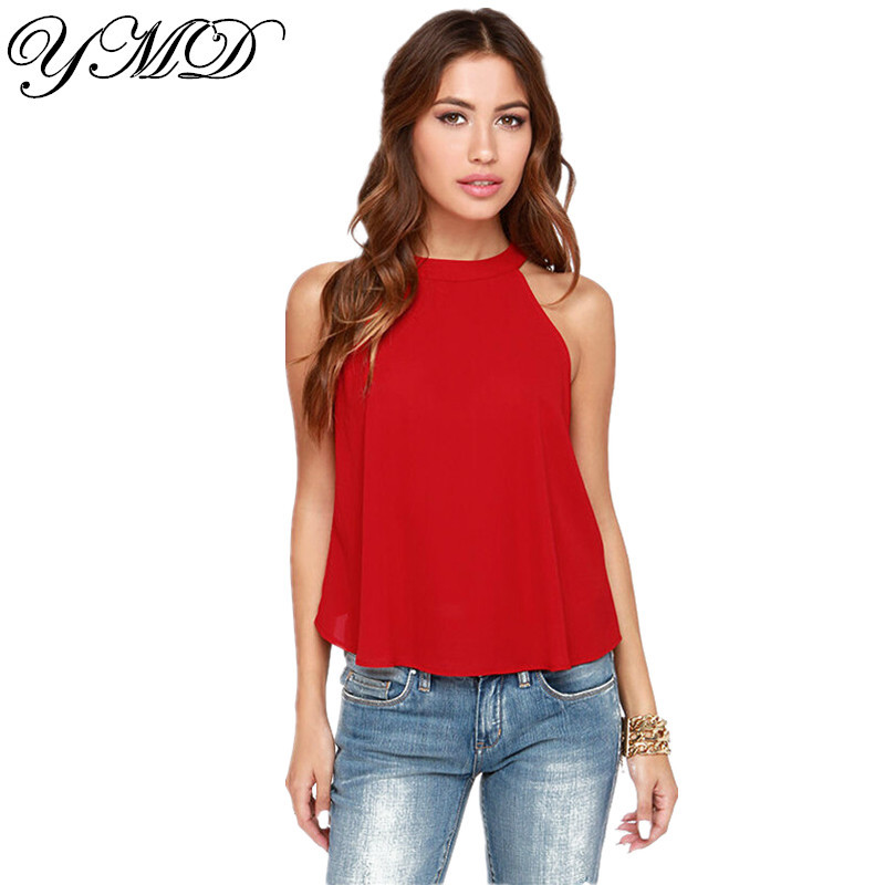 Sexy Sleeveless Red And Black Women Blouses Plus Size