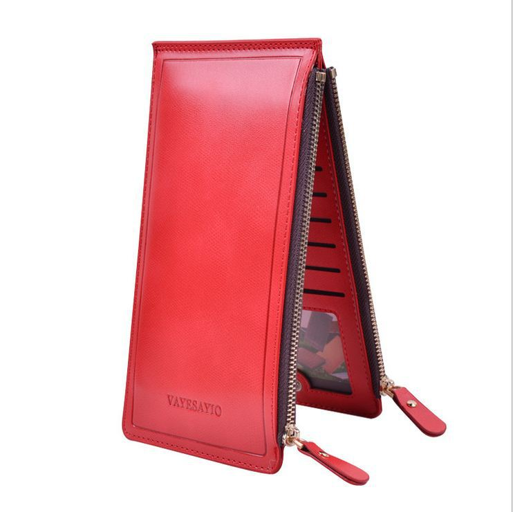Fashion Double Zippers Women Wallets Luxury Large Capacity Purses Ultra-thin Leather Wallet Clutch Selling Money Clip Lady Purse(China (Mainland))
