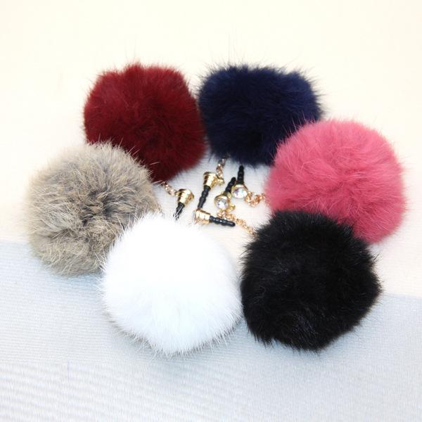 2015 HOT USA European high quality Earphone Jack Plug New Rabbit Fur cony hair Dust Plug Fashion Mobile Phone 3.5mm Hole(China (Mainland))