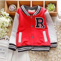new 2015 spring boy baseball jacket retail baby's outwear kids coat long sleeve knit letter coat baby jacke