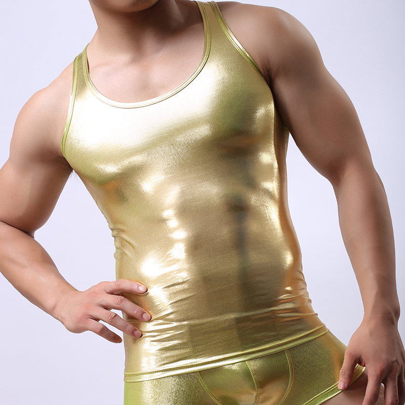 Fashion Brand Flaux Leather Man Sexy Fitness Bodybuilding Sleeveless Tank Tops/Gay Addicted Funny Gold Vest/Gym ShirtsОдежда и ак�е��уары<br><br><br>Aliexpress