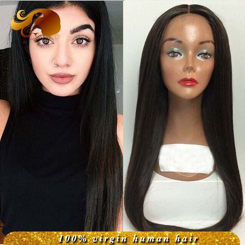Фотография 7A Silky Straight Lace Front Wigs Bleached Knots Brazilian Virgin Hair Full Lace Human Hair Wigs Natural Looking With Baby Hairs