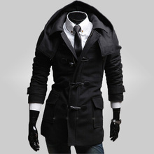Free Shipping 2015 Hot Men's Jackets Horn button  Dust Coat Male winter  Coat Size:M-2XL 110(China (Mainland))