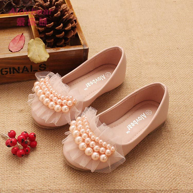 2015 new sweet princess shoes for girls with lace pearl children wedding shoes high quality and comfortable(China (Mainland))