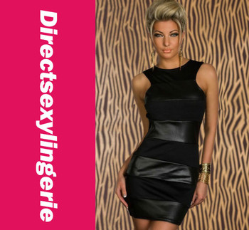 2015 Women's Casual Dress with Tank Style Clubwear Black of New Fashion Trend Wetlook Leather Patch LC2868