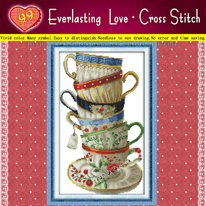 Elegant coffee cup,six table glass 11CT counted print on canvas embroidery dmc diy dimensions cross stitch kits needlework Sets(China (Mainland))