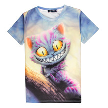 Hot Cheshire Cat 3D Print T-shirt Smile Kitty Cotton Unisex Costume Summer Tee Alice in Wonderland Shirts Casual Homme Tops